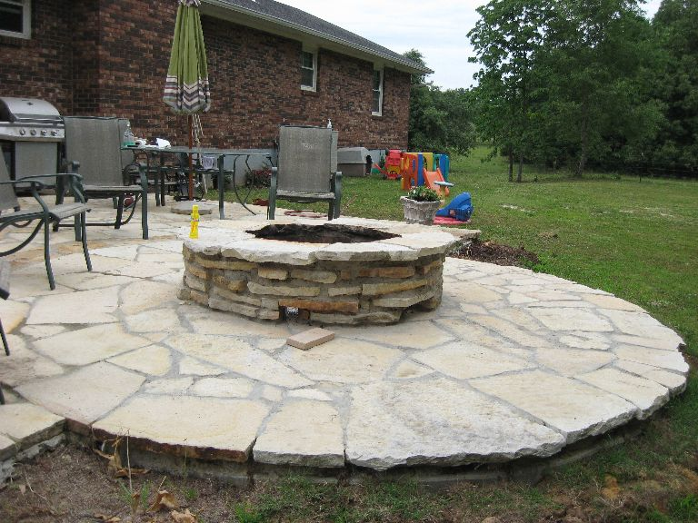 High Quality Stone Patio And Firepit   Buff White Natural Stone   Poplar Bluff, MO