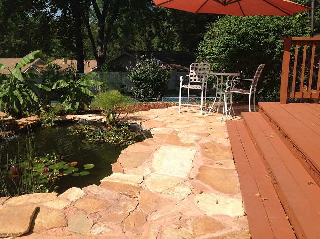 Water Garden Patio Stone Off Backyard Deck